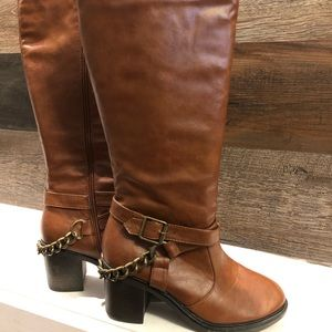 Leather Chain Boots by Bamboo